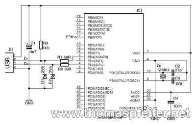 The schematics of the PPM2USB adapter
